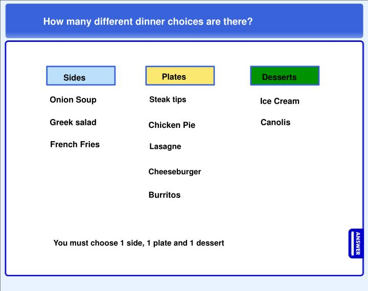 How many different dinner choices are there?