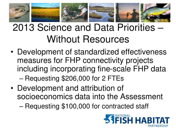 2013 Science and Data Priorities – Without Resources
