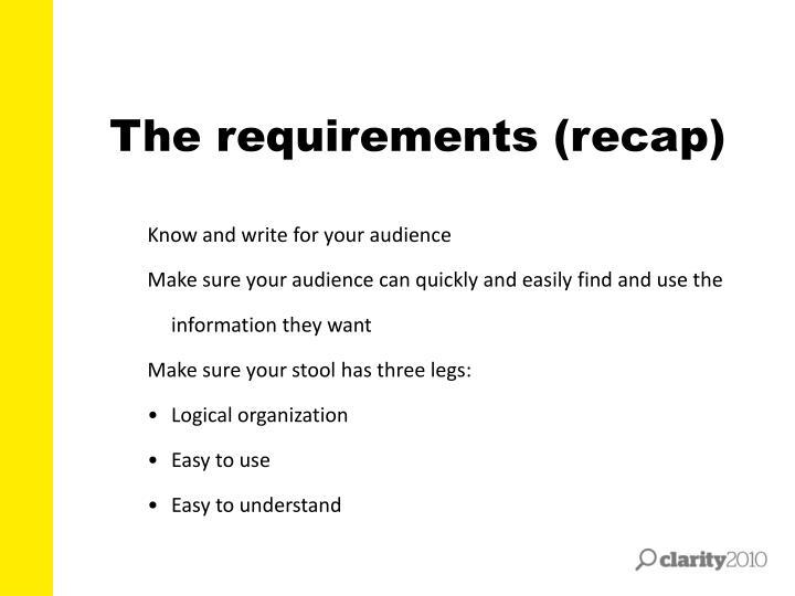 The requirements (recap)