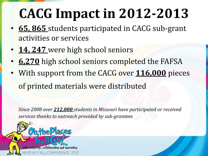 CACG Impact in 2012-2013