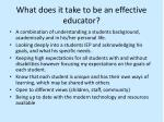 what does it take to be an effective educator