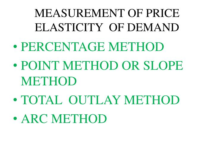 MEASUREMENT OF PRICE ELASTICITY  OF DEMAND