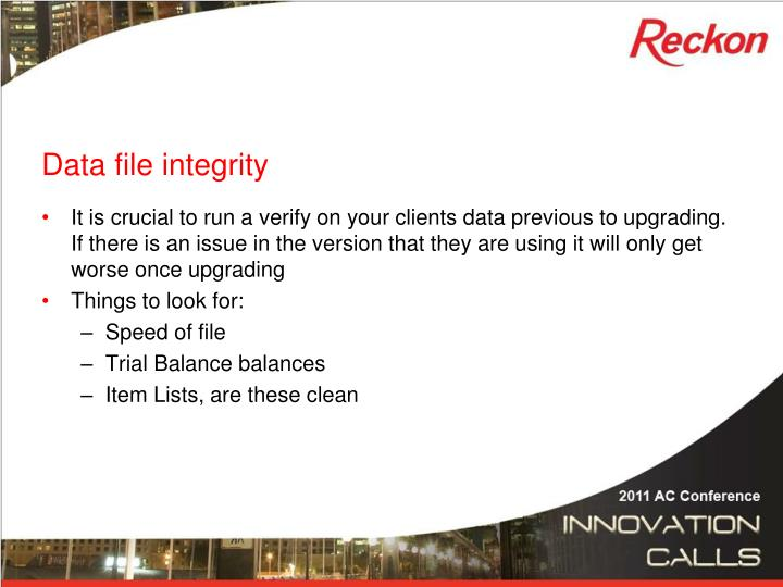 Data file integrity