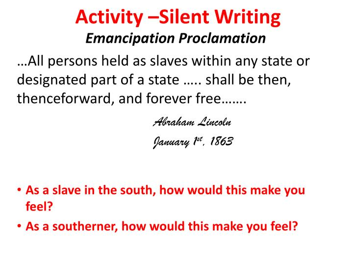 Activity –Silent Writing