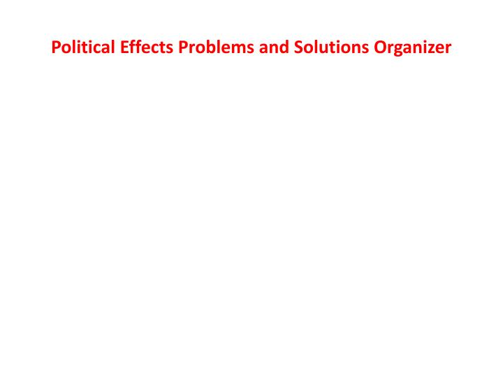 Political Effects Problems and Solutions Organizer