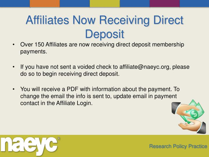 Affiliates Now Receiving Direct Deposit