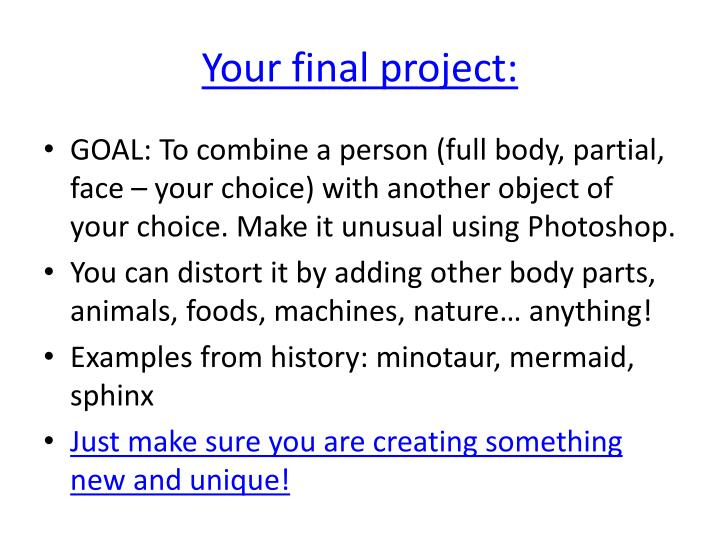 Your final project: