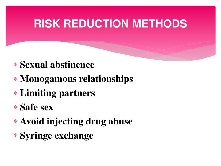 RISK REDUCTION METHODS