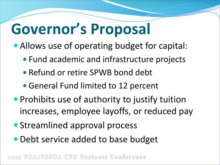 Governor's Proposal