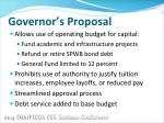 governor s proposal