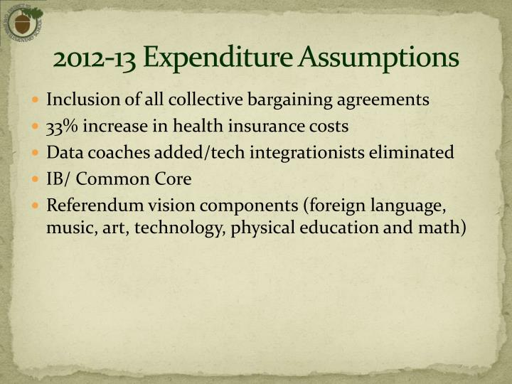 2012-13 Expenditure Assumptions