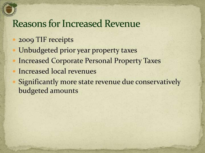 Reasons for Increased Revenue