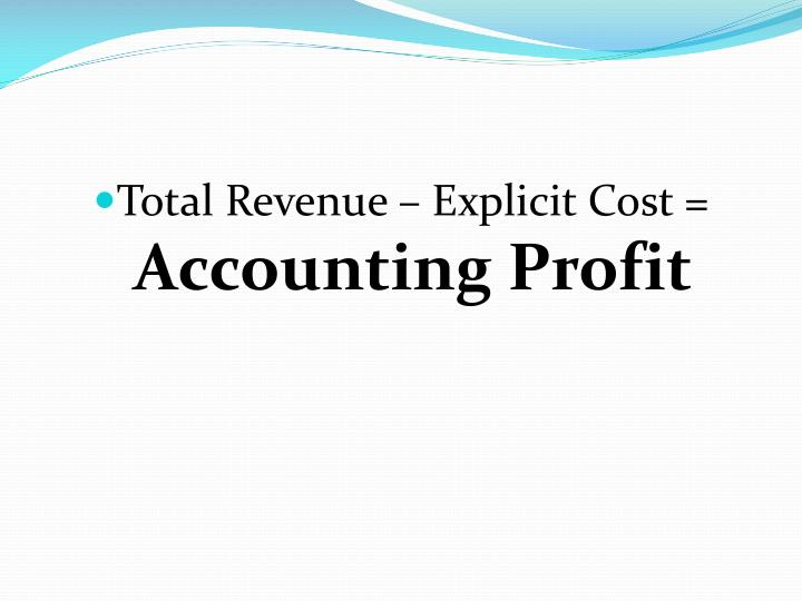 Total Revenue – Explicit Cost =