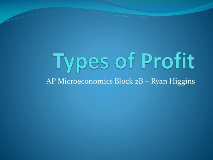 Types of profit
