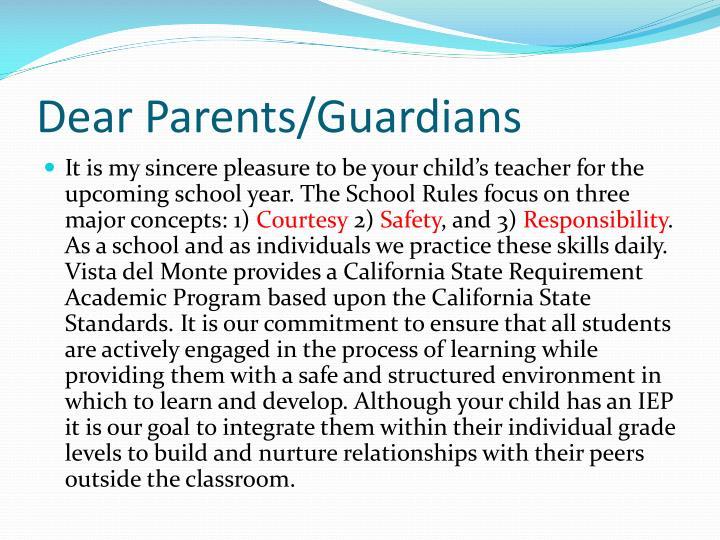 Dear Parents/Guardians