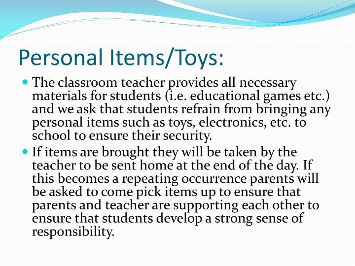 Personal Items/Toys: