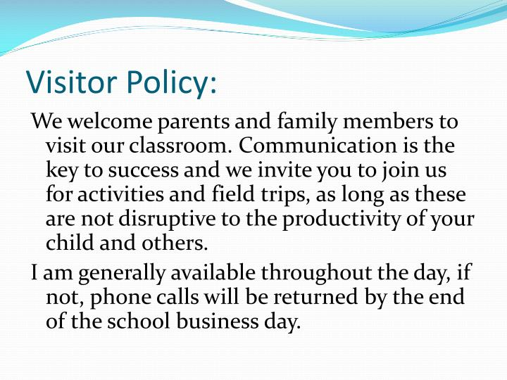 Visitor Policy: