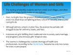 life challenges of women and girls