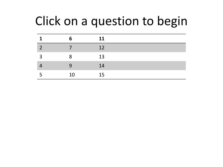 Click on a question to begin