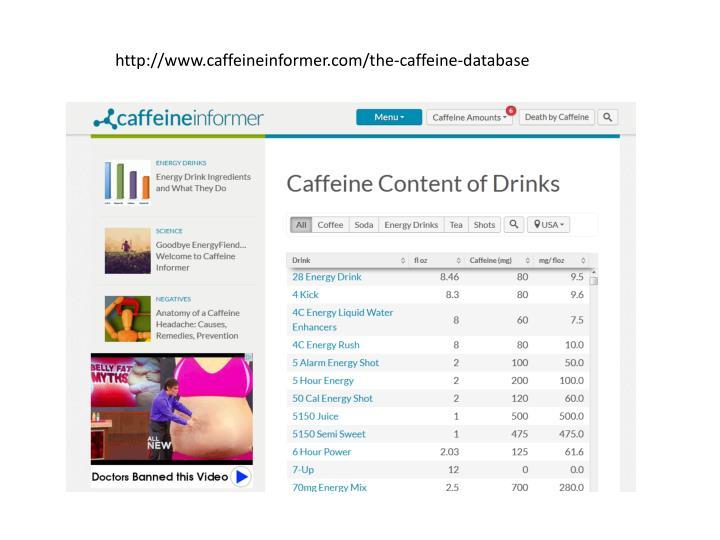http://www.caffeineinformer.com/the-caffeine-database