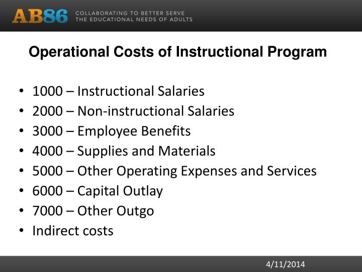 Operational Costs of Instructional Program