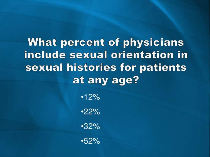 What percent of physicians include sexual orientation in sexual histories for patients at any age?