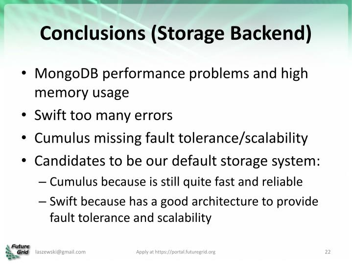 Conclusions (Storage Backend)