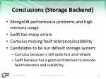 conclusions storage backend