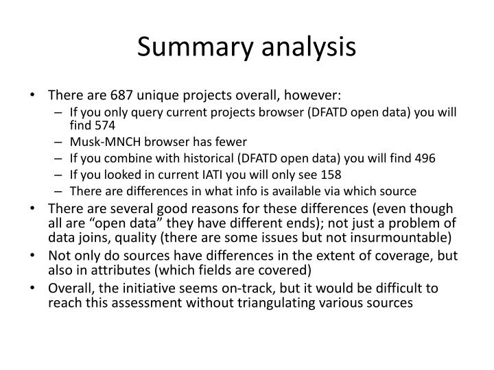 Summary analysis