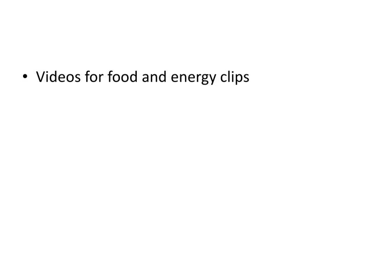 Videos for food and energy clips