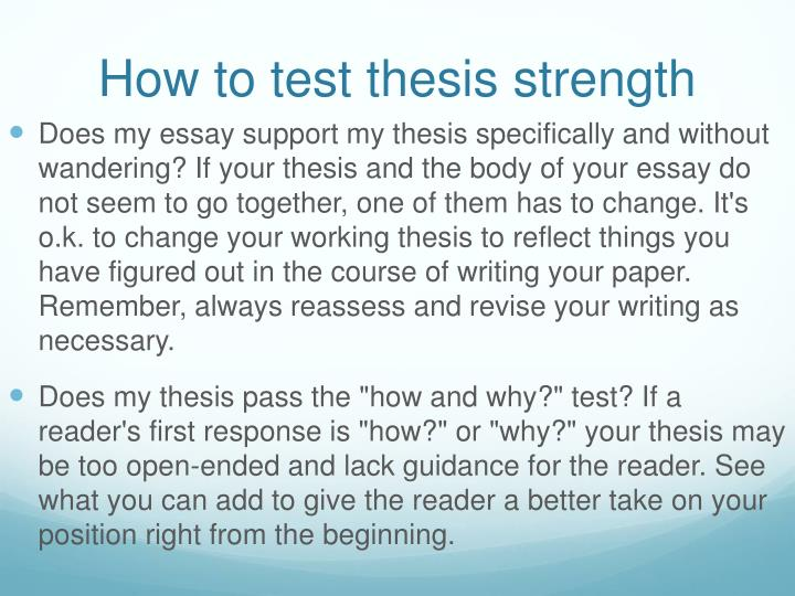 How to test thesis strength