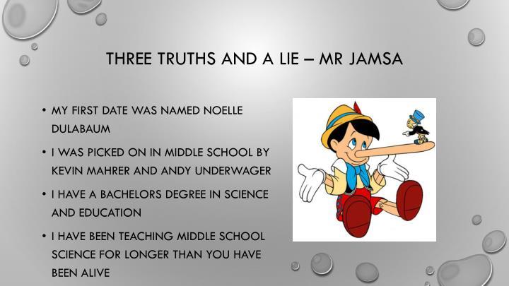Three truths and a lie –