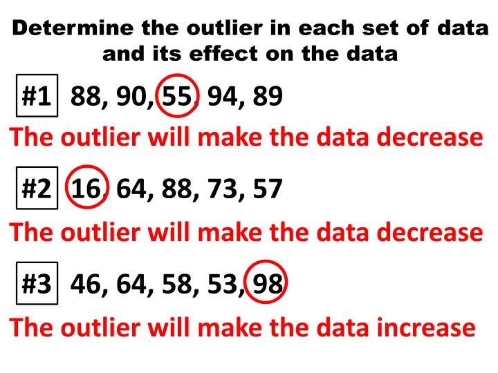 Determine the outlier in each set of data