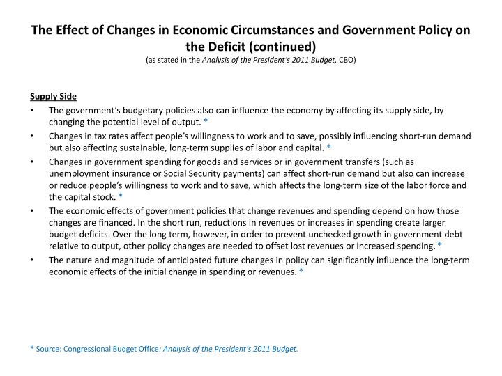 The Effect of Changes in Economic Circumstances and Government Policy on the Deficit (continued)