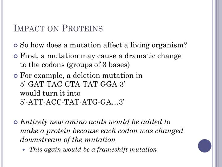 Impact on Proteins