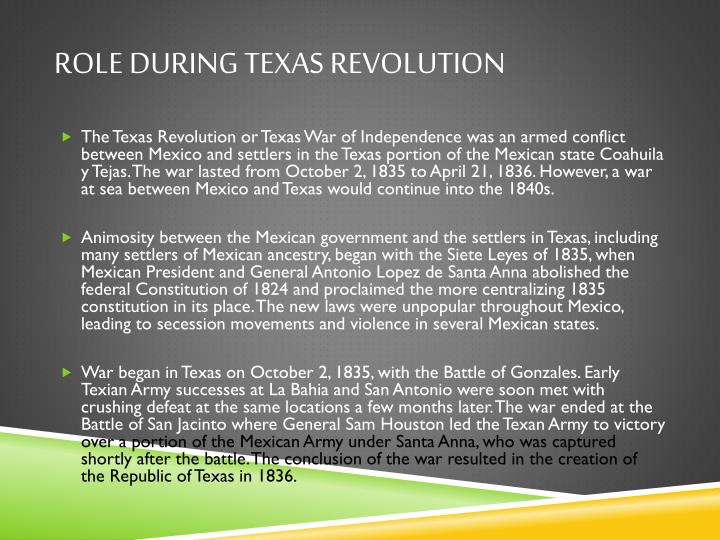 Role during Texas revolution