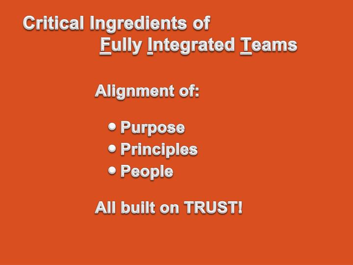 Critical Ingredients of