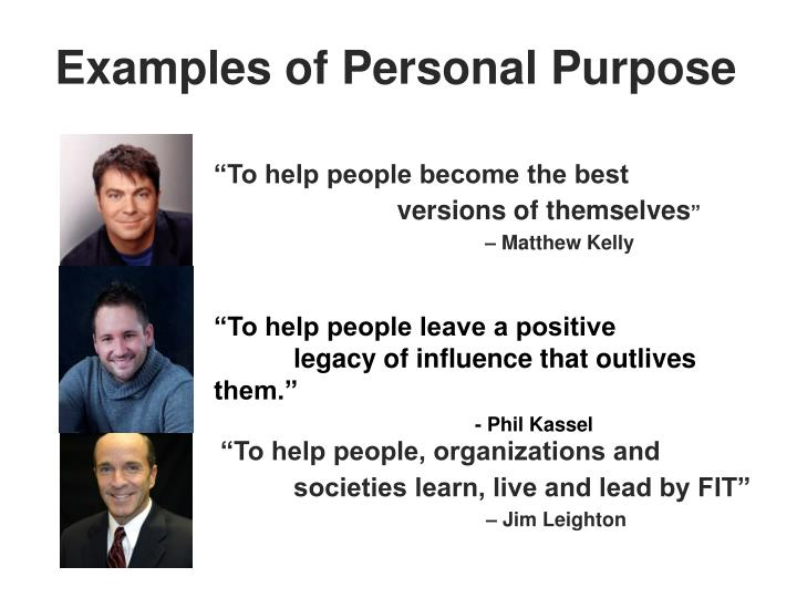 Examples of Personal Purpose