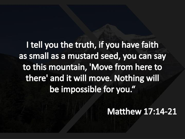 I tell you the truth, if you have faith