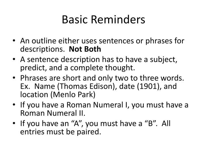Basic Reminders