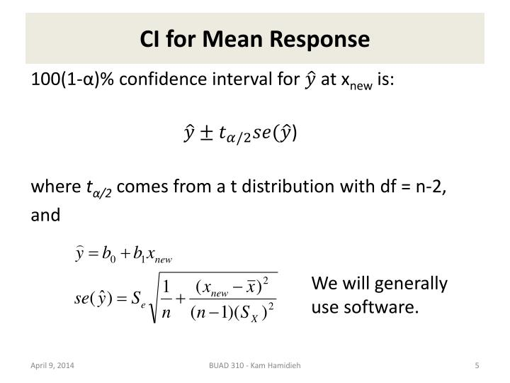 CI for Mean Response