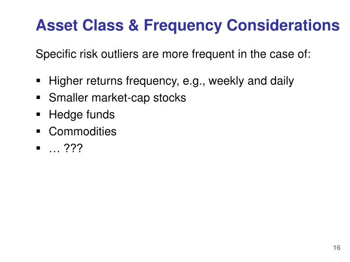 Asset Class & Frequency Considerations