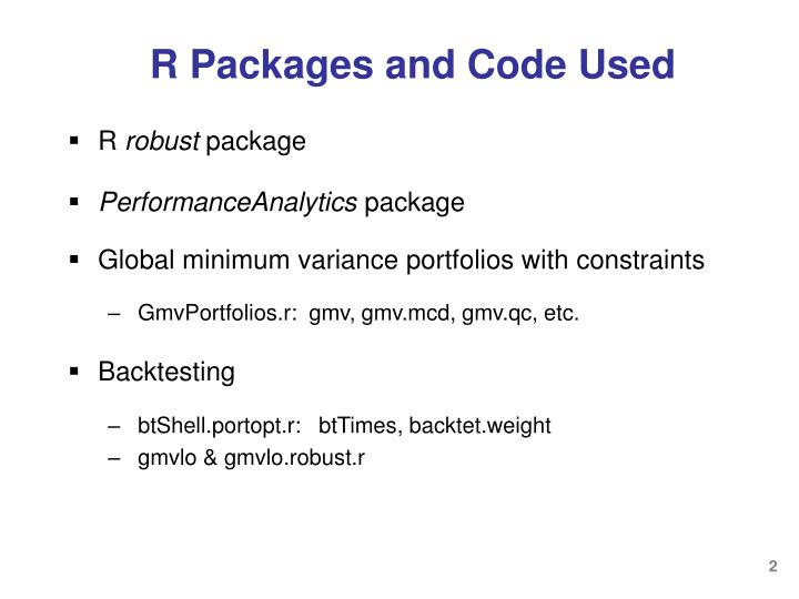 R packages and code used
