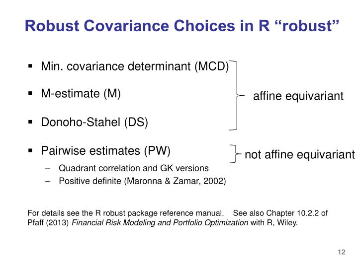"Robust Covariance Choices in R ""robust"""