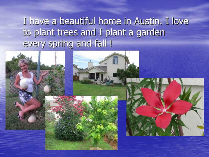 I have a beautiful home in Austin. I love to plant trees and I plant a garden every