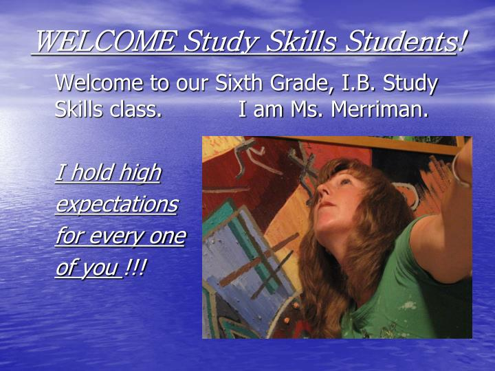 welcome study skills students