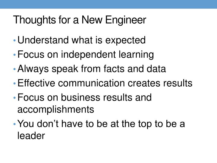 Thoughts for a New Engineer