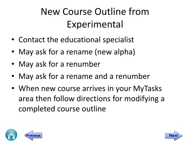 New Course Outline from Experimental