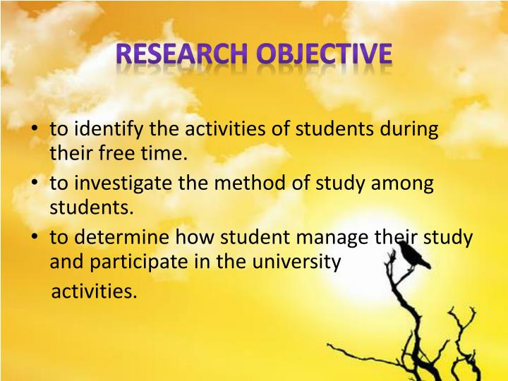 RESEARCH OBJECTIVE