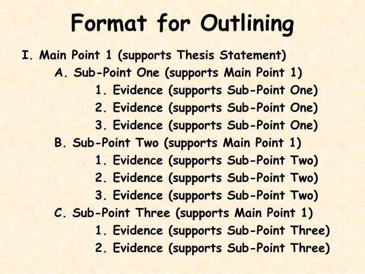 Format for Outlining